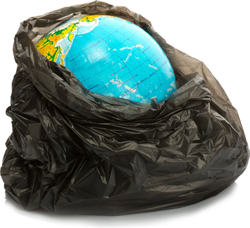 The world in a plastic trash bag
